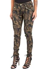 Poetic Justice Jeans Maya Gold Zipper Mid Rise Skinny Camo Size 32R  #7107