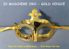 CARNEVALE MASCHERA MASCHERE GOLD VENICE 20 Pz COLORE ORO FESTA DJ PARTY