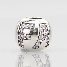 European Pandora Silver Charm Surrounded by Faith, pink cz