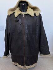 """Vintage Sheepskin Type B-3 Style Flying Jacket Dark Brown WITH HOOD  46"""" LONG"""