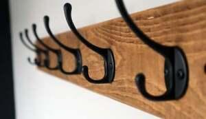 Coat Rack Rustic Wood Antique Style Wooden Vintage Handmade Cast Iron Coat Hooks