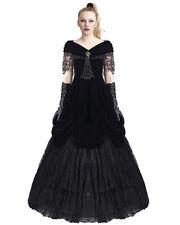 Punk Rave Gothic Prom Dress Black Velvet Long Steampunk VTG Victorian Wedding