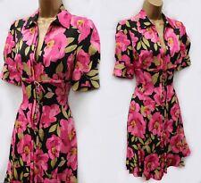 Karen Millen Pink Floral Silk Shirt Tea Cocktail Party Races Evening Dress 10 38