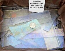10 POUNDS PLAIN CLEAR IRIDIZED BULLSEYE 3mm THICK GLASS SCRAP 90 COE FUSIBLE