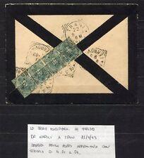 s4304) ITALIA REGNO 21.9.1893 Busta Napoli Trani - Affr. striscia di 4 c.5
