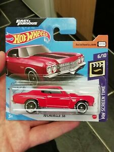 Hot wheels Fast Furious '70 CHEVELLE SS red short card 2020