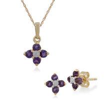 Parure con diamanti e gemme in oro giallo con pietra principale ametista 9 carati