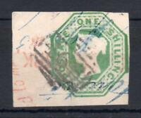 1/- EMBOSSED WITH 4 MARGINS (CLEAR TO HUGE) AND VARIOUS (INCL CORK ??) CANCELS