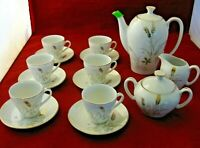 Jonas Roberts Demitasse Tea Setting Porcelain/Ceramic Golden Wheat Motif in EC