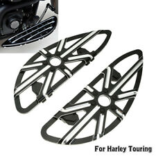 For Harley Touring Rider Stretched Front Floorboards Deep Cut Black