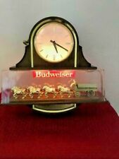 Vintage Budweiser Worlds Champion Clydesdale Team Light Up Beer Sign Clock WORKS
