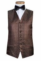 MENS AND PAGE BOYS BROWN DIAMOND WEDDING DRESS PROM PARTY WAISTCOAT VEST (B52)