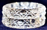 Vintage Retro Cut Crystal Serviette  Napkin Rings - Set of 2 - 5 cm diameter
