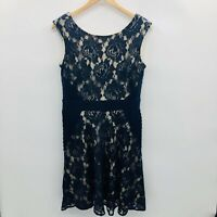 Dressbarn Womens Size 12 Sleeveless Fit and Flare Cocktail Party Dress Blue Lace