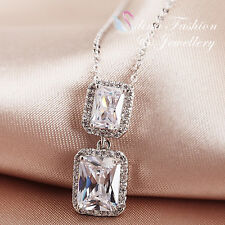 18K White Gold GP Simulated Diamond Radiant Cut Sparkling 2x Rectangle Necklace