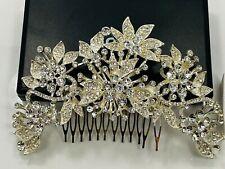 Crystal Flower Hair Comb Wedding Headpiece - Silver Tone