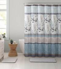 VCNY Ashley Light Blue Beige Canvas Fabric Shower Curtain Floral NWOP
