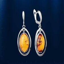 Russische Silber 925° Ohrringe Ohrhänger mit oval  Bernstein Neu Glänzend