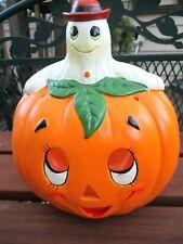 VTG Lefton Halloween Tea Light Candle Holder Ghost w Jack O Lantern Pumpkin 1986