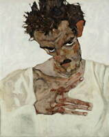 Egon Schiele Self-Portrait with Lowered Head Poster Giclee Canvas Print