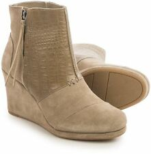 NEW Authentic TOMS Desert Platform Wedge High Bootie Taupe Suede & Snake Size 12