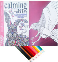 Colour Therapy CALM Anti-Stress Adult Colouring Book + 20 COLOURING PENCILS