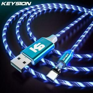 Keysion Magnetic Cable Flowing Light Led Micro Usb Cable For Samsung Type-c Char