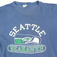 Vtg Champion Blue Bar Seattle Seahawks T-Shirt M/L? Faded Single Stitch USA Made