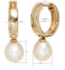Creolen 925 Sterling Silber vergoldet 2 Süßwasser-Perlen Ohrringe H. 23,9 mm NEU