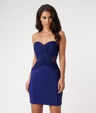 Lipsy Ruched Mesh Purple Bandeau Dress Size 14 BNWT