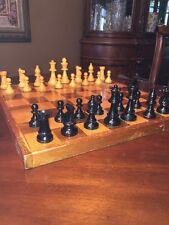 "FRENCH LARDY 3 1/2"" Staunton Wood Chess Set Walnut & Maple Color Board 2"" Square"