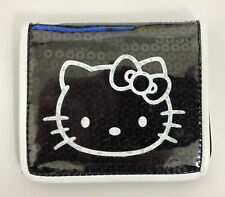 HELLO KITTY BLACK SEQUIN WALLET ID CARD HOLDER BUS RAIL PASS TRAVEL PURSE