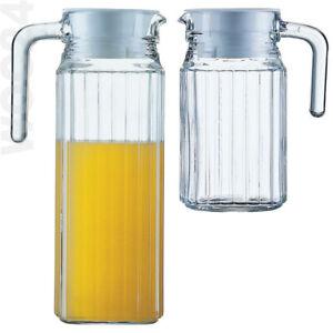 Gastro Kantinen Glas Krug Glaskrug Karaffe Saftkrug Kühlschrankkrug Griff Deckel
