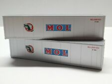 HO Scale - Athearn Walthers Lot of (2) MOL 40' Intermodal Shipping Containers