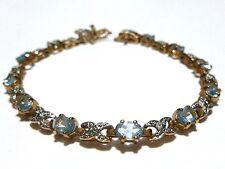 "Womens Estate Sterling Silver Gold Wash Light Blue Topaz Tennis Bracelet 7"""