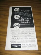 1959 Print Ad Bausch & Lomb BALvar Rifle Scopes for Hunting Rochester,NY