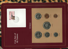Coin Sets of All Nations Tuvalu w/card 1985 UNC $1,50,20,10,5,2,1 cents 2MY88