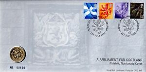 GB 1999 COVER PARLIAMENT FOR SCOTLAND WITH £1 COIN