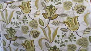 FLORAL STYLIZED DESIGN OLIVE LIME LEAF GREEN  COTTON 4.5 yard piece FABRIC