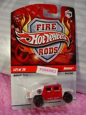 Very RARE 2009 Hot Wheels FIRE Rods #21 HUMVEE☆white/red☆FARGO N. DAKOTA DEPT