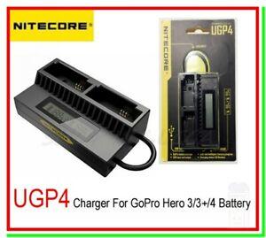 caricabatterie nitecore ugp4 pile al litio sport cam gopro 3 4 ahdbt 201 301 401