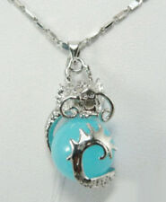 Sky-blue Jade Dragon Ball White Gold Plated Pendant & Necklace