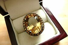 LARGE CITRINE & YELLOW SAPPHIRE 925 SILVER BLACK RHODIUM STATEMENT RING SZ M 6.5