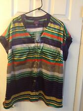 BEVERLY DRIVE Womens Button Front Multi-Colored Striped Blouse Top: 16W-18W