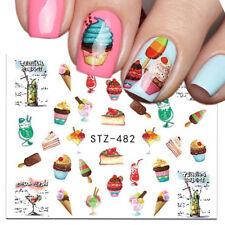 Nail Art Water Decals Transfers Stickers Summer Ice Cream Sundae Cupcake (482)
