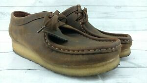 Clarks Originals Wallabee Womens Brown Nubuck Leather Crepe Sole Shoes Sz 8 M