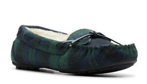 Women's Clarks Faolan Pride Plaid Slippers  Navy-Plaid Size: US/11
