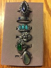 Vintage lot of 6 Avon rings silvertone beautiful signed. Great condition!