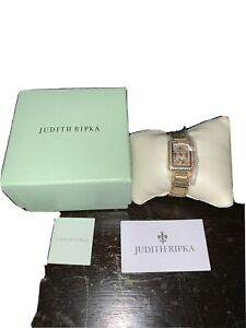NEW Judith Ripka Stainless Steel & Simulated Diamond Regent Watch In Gold W MOP