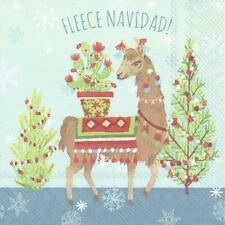 IHR Fleece Navidad Cocktail Paper Napkins 20-Pack Disposable 3-Ply Serviettes